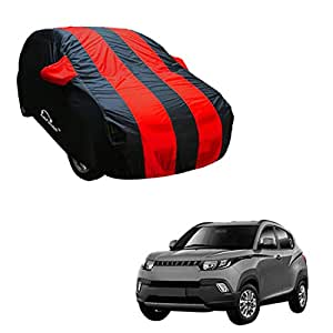 Autofurnish Red Stripe Car Body Cover Compatible with Mahindra KUV100 - Arc Blue