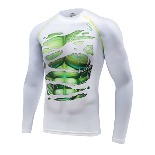 Long Sleeve Compression Shirts for Men, CRS Sport Superhero T Shirt Top, Sweat-Wicking & Durable 4 Way Stretch Fabric, Sport Compression Shirt for Fitness, Running, Gym or Crossfit
