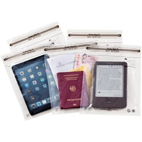 Noaks Bags 60.01.001 - Pack de 5 bolsas secas con cierre zip (100% impermeables y herméticas), transparente, tamaño XS