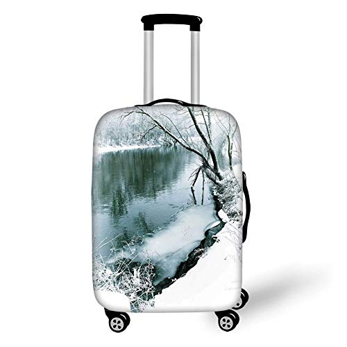 Travel Luggage Cover Suitcase Protector,Nature,Winter Forest with Frozen Snowy Foliage Grass ICY Tree Branches Lake Scenery,Turquoise White,for TravelM 23.6x31.8Inch -