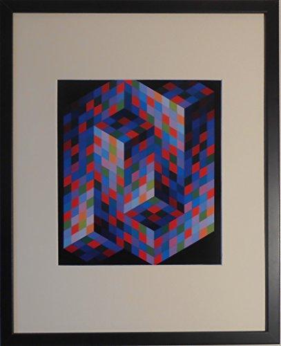 aufgezogen und gerahmt Izzo MC Kunstdruck Victor Vasarely–50,8x 40,6cm–Teil der...