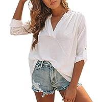 Geili T-Shirt Damen,Frauen Baumwolle Leinen Casual Solid Langarm V-Ausschnitt T-Shirt Damen Roll-Up Sleeve Plissee... preisvergleich bei billige-tabletten.eu