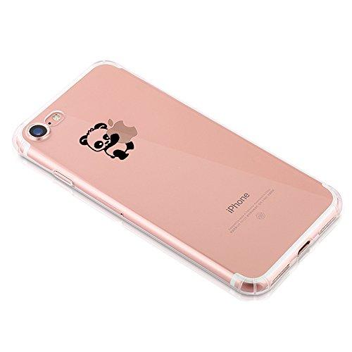 Pacyer® iPhone 7 Custodia Panda Transparente TPU Gel Silicone Protettivo Skin Shell Case Cover Per Apple iPhone 7 (4.7) 13