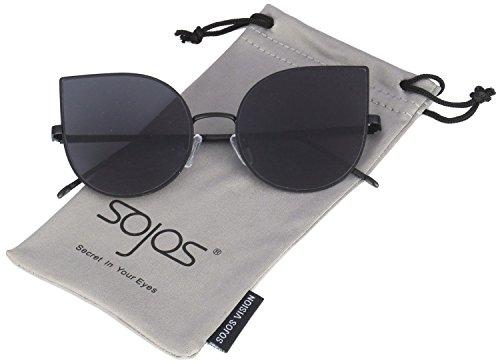 Sojos cat occhio lenti a specchio piatto ultra sottile donne ultra light struttura in metallo occhiali da sole sj1022 con grigio lente