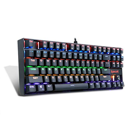 RA LED Rainbow Backlit Mechanical Gaming Keyboard Small Mechanical Gamers Keyboard 87 Key Metal Computer USB Gaming Keyboard for PC Quiet Cherry MX Blue Equivalent (Black) ()