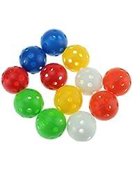 Lot de 12 balles d'entraînement de golf en plastique 40mm Multicolore
