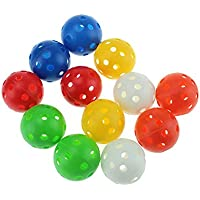 40mm Mixed Color Plastic Airflow Golf Practice Ball,pack of 12 pcs,red,orange,yellow,white,blue,green,six colors for your choice,also good for your pets