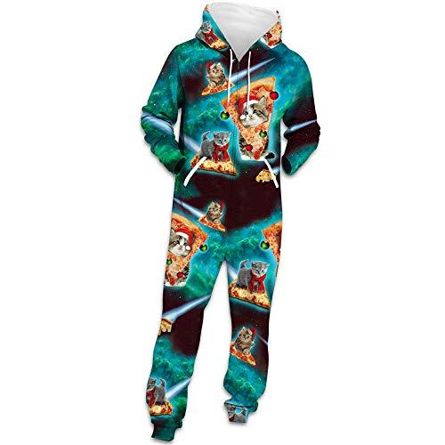 Herren Weihnachten Jumpsuit Jogger, Morbuy Unisex Herren Kapuzenpullover Strampelanzug 3D Geometrie Printed Onepiece Sweatshirt Männer Strampler Weich Nachtwäsche Bekleidung (XL,Pizza-Katze) -
