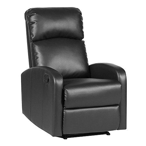 SVITA Relaxsessel Fernsehsessel Ruhesessel mit Verstellbarer Beinablage und Liege-Funktion - Kunstleder Farbwahl (Schwarz)
