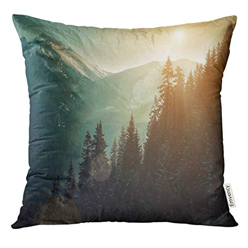 tainscape Nice Mountains View at Sunny Day with Skiers Under Blue Sky Sun Light Winter Time Forest Decorative Pillow Case Home Decor Square 18x18 Inches Pillowcase ()