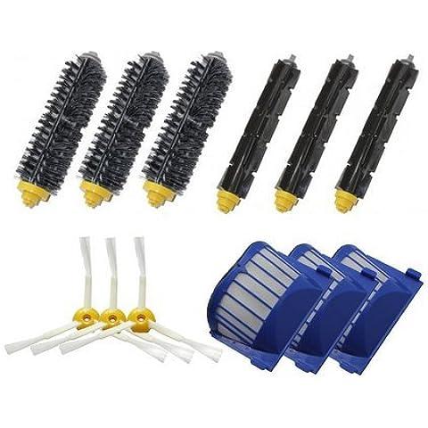 Top Mall Iautomatic REPLENISHMENT-una frase Kit per iRobot Roomba 600Serie di 3Aero Vac filtro & 33controversia Side spazzole & 3setole pennello & 3flessibile Beater spazzole