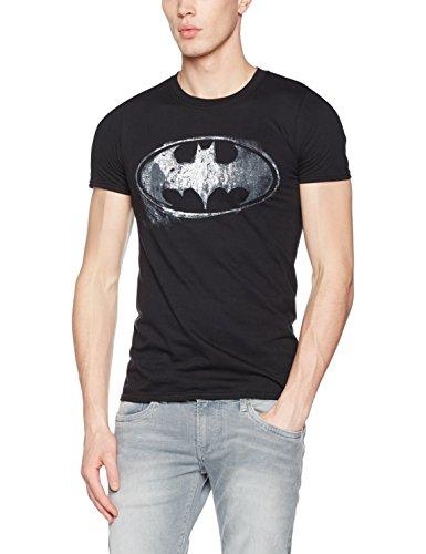 Batman Logo Mono Distressed, Camisetas para Hombre, Negro, Medium
