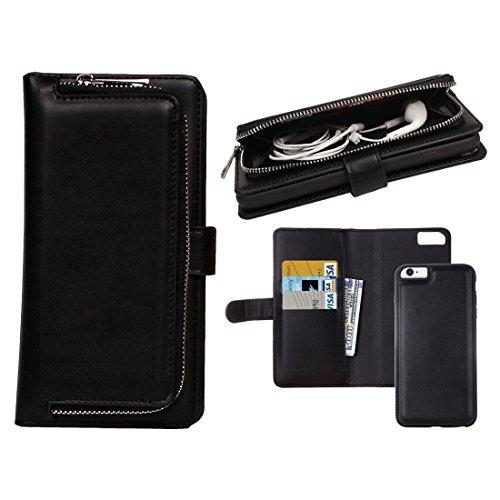 XACQuanyao Schutzhülle für iPhone 6 / 6S, Taine, aus leichtem Stoff, horizontal, mit Abnehmbarer Schutzhülle und Kartenschlitzen