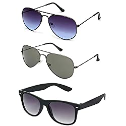 Rhodopsin UV Protected Grey Blue Aviator , Grey Aviator and Black Wayfarer Sunglasses (3_Grey_Blue_and_Grey_Aviator_Black_Way)
