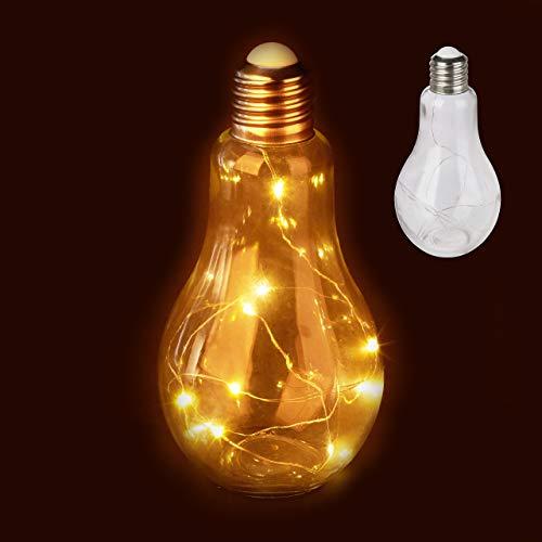 Relaxdays 2 x Deko Glühbirne LED, Tischleuchte, batteriebetriebene LED-Deko, Glas-Glühlampe mit Lichterkette, transparent