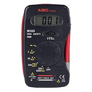 AIMOmeter M300 Pocket Size Digital multimeter Handheld DMM DC AC Ammeter Voltmeter Ohm Meter with Diode and Continuity Test