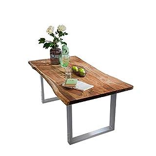 SAM Baumkantentisch Quarto, Akazien-Holz massiv, nussbaumfarben, Esszimmertisch mit silbernen Metallbeinen, 120 x 80 cm