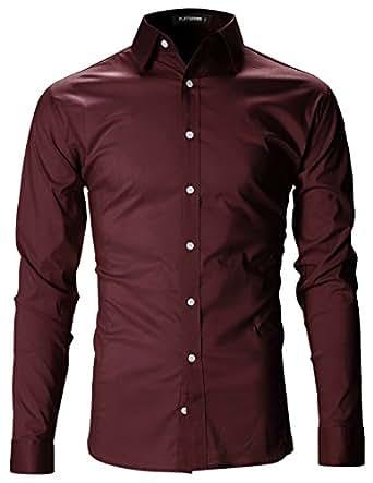 FLATSEVEN Herren Slim Fit Basic Hemden Langarm (SH400) Wine, M