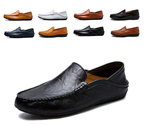 AARDIMI Herren Mokkasins Slip on Casual Männer Loafers Frühling und Herbst Herren Mokassins Schuhe aus echtem Leder Herren Wohnungen Schuhe schwarz (46, Schwarz) Mokassin Slip-ons