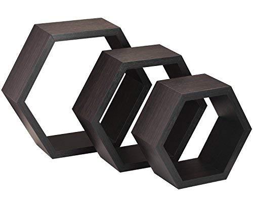 Halter a forma di mensole di galleggiamento per esposizione decorativa - (brown) - insieme di tre - facilità di installazione, viti e ferramenta in dotazione