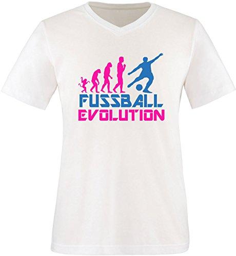 EZYshirt® Fussball Evolution Herren V-Neck T-Shirt Weiss/Pink/Blau
