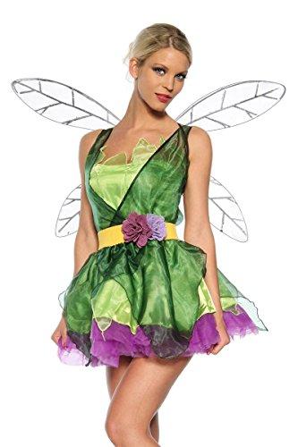 Lila Feen Kostüme (Kleid, Flügel, Gürtel, String Feen Kostüm grün/lila, Größe)