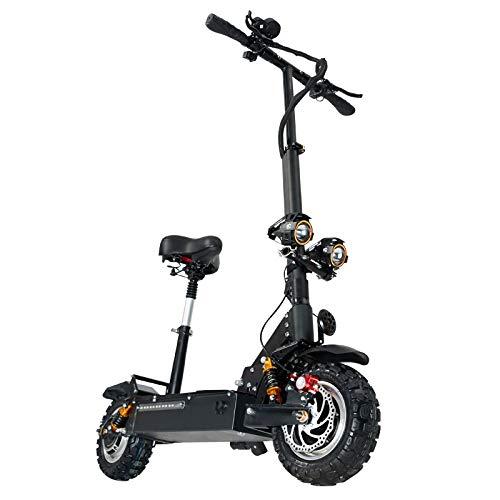 HUAEAST Patinete Electrico Adulto Scooter Plegable Todoterreno de Doble Unidad 3200w con Batería de Litio de 60V 24AH