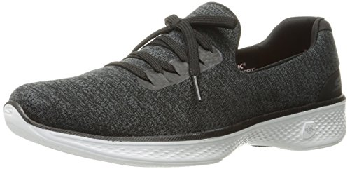 Skechers Go Walk 4 A.d.c, Baskets Basses Femme Black/White