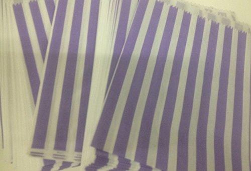 500 kleine Papiertüten Geschenktüten Candy Bags mit Streifen lila 16 x 12.5 cm mit Lasche Bonbons Lakritz DIY etc. -
