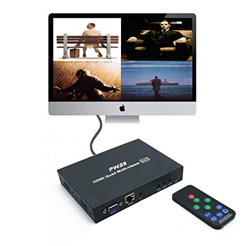 PW-MH41B Quad Multi-Viewer 4x1 HDMI Switcher 4 Ports with Nahtlose Umschaltung and IR Kont