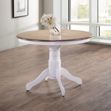 Rhode Island Round Dining Table in Soft White and Natural - inexpensive UK light shop.