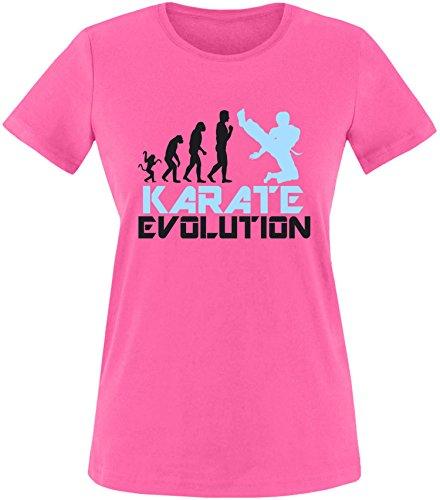 EZYshirt® Karate Evolution Damen Rundhals T-Shirt Fuchsia/Schwarz/Hellbl