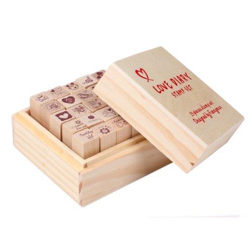 Demiawaking 25pcs Diario di Amore DIY Sigillo Stamp Set in Gomma di Legno con la Scatola di Legno per Decorare Libri Diario e Carte di Festival