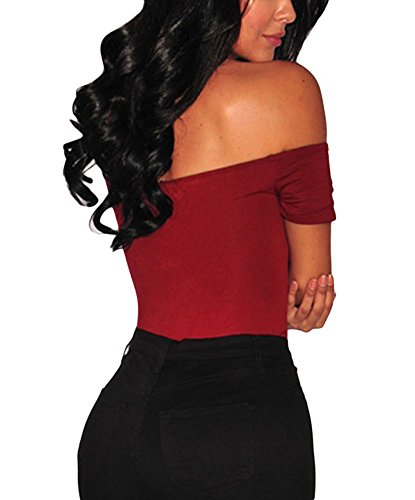 MAX MALL Damen Schulterfrei Body Shaper Bodysuit Overall Jumpsuit Rot