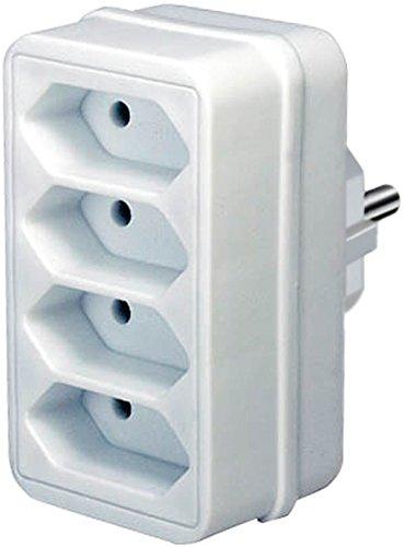 Brennenstuhl Mehrfachsteckdose, Steckdosenadapter 4-fach Eurosteckdose mit Kindersicherung, Farbe: weiß