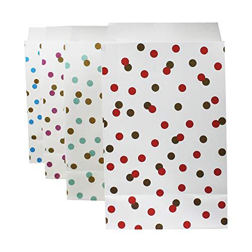 Emartbuy Packung mit 40 Punktmuster Weihnachten Party Taschen Geschenk Papiertüten Einkaufstüten Mittagessen Flacher Boden Papiertüten - 4 Farben -
