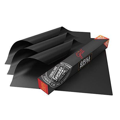 Grillmatte für den BBQ, 3er Set von Hans Grill: Baken & Kochbeständig & 100% Anti-haftend, FDA zugelassen PFOA frei 40 x 22 Zoll
