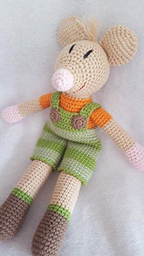gehäkelte Puppe - tolles Geschenk - Mäuserich in grün gestreifter Latzhose - BIO - Baumwolle - handgemacht