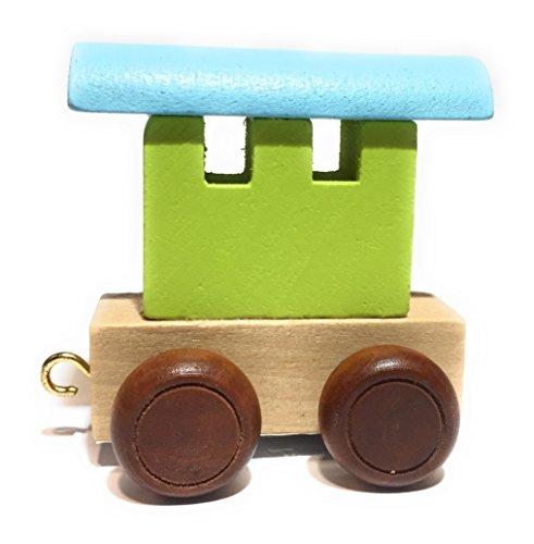 Buchstabenzug | Wunschname zusammenstellen | Holzeisenbahn | EbyReo® Namenszug aus Holz | personalisierbar | auch als Geschenk Set ( Abschluss Waggonbunt )