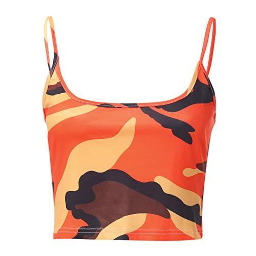 MORETIME Sommerkleid Frauen Camouflage Ärmelloses Trägershirt Bustier BH Weste Crop Top Bluse T-Shirt -