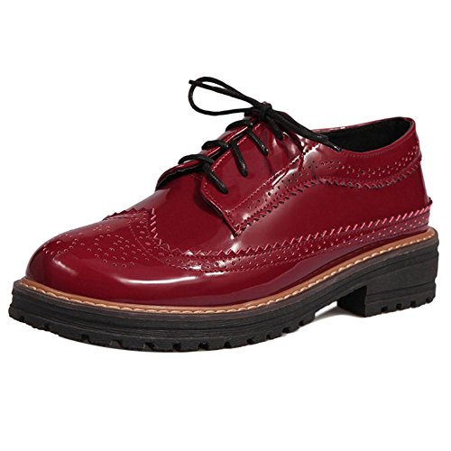 COOLCEPT Damen Mode Brogue Schuhe Schnurung Red