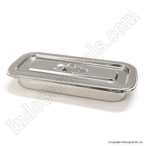 IndoSurgicals Instrument Tray, Stainless Steel with Cover, Deluxe Quality, (200x79x40mm)