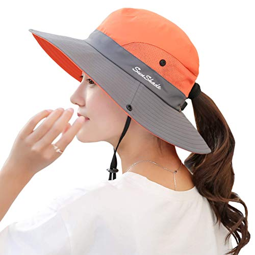 8954c0c0 Lyanty Women's Outdoor UV Protection Foldable Mesh Wide Brim Beach Fishing  Hat-Orange