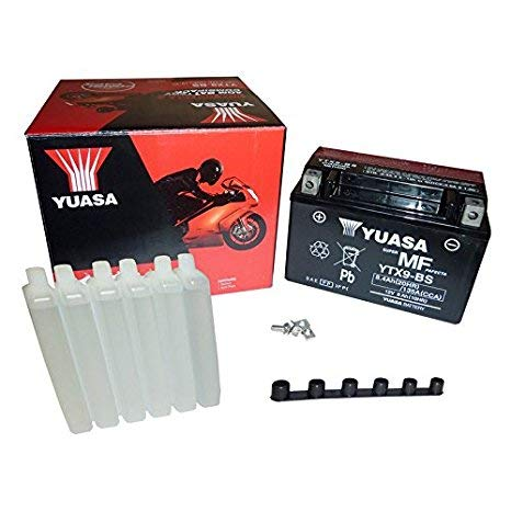 BATTERIA YUASA YT9B-BS C/ACIDO per Yamaha Majesty 400 04-06 ; T-Max 500 01-07 ; TT RE 600 03-04 ; YZF R6 600 01-06 ; MT-03 660 06- ; XT R/X 660 04- ; YZF R7 750 99-00