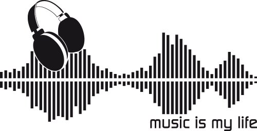 Graz Design 600076_57_070 Wand-tattoo/aufkleber Musik Tanz Disco Retro Equalizer, music is my live Spruch, 112 x 57 cm, schwarz Musik-aufkleber Für Wände