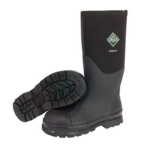 Muck Boots Unisex Erwachsene Chore Steel Toe Sicherheits-Gummistiefel, Black (Black 000A), 46 EU (Boot Weit Kalb)