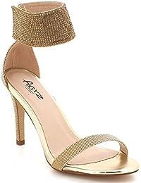d36204ef04 Mujer Señoras Cristal Diamante Noche Boda Fiesta Paseo Gladiador Alto Tacón  Sandalias Zapatos tamaño