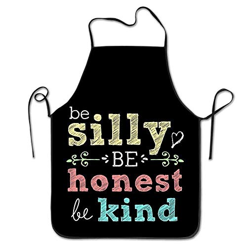 Be Silly Be Honest Be Kind Machine Washable Durable String Apron For Women Men BBQ,Cooking,Working,Grilling,Baking,Crafting (Rot Silly String)