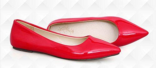 Aisun Damen Spitz Geschlossen Süß Lackleder Flach Schuhe Rot 40 EU Od22Jmu