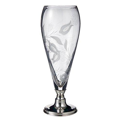 Raddi argenterie - Pot cristal meulé à main Tulipes, avec base en Silver Plated imputrescible H cm 38